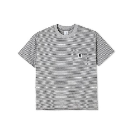 STRIPE POCKET TEE - GREY