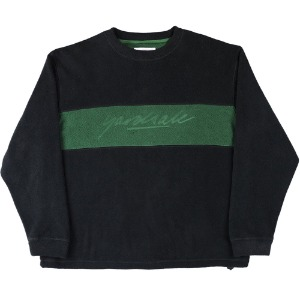 EMBOSSED FLEECE CREWNECK - BLACK/FOREST GREEN