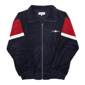 CRUZ VELOUR TRACK TOP NAVY/RED