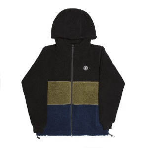 COUSINS HOODED TOP BLACK/GREEN/NAVY