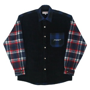 PATCHWORK SHIRT BLACK/NAVY