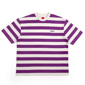 STRIPE TEE HEATHER GREY/PURPLE