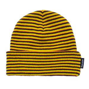 Striped Cuff Beanie - Orange/Navy