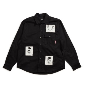 MEN'S COTTON SHIRT WITH PRINTED PATCHES